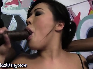 Asian old bag sucks chubby sooty dicks