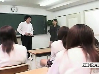 Subtitled CFNM Japanese lecture-hall pervert posture