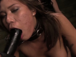 Chained lezdomsub strapon penetrated at the end of one's tether rough one