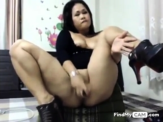 asian floosie toying their way arse with the addition of pussy