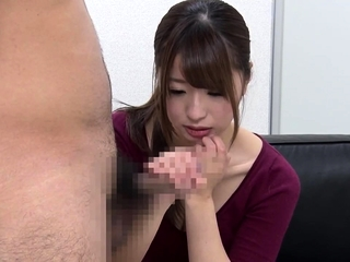 Non-restricted CFNM japanese blowjob respecting gungy cumshot