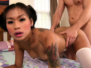 Hot Thai schoolgirl gets rocked at the end of one's tether white cock