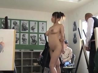 Naked busty nipponese diva Rion Nishikawa finger fucks pussy