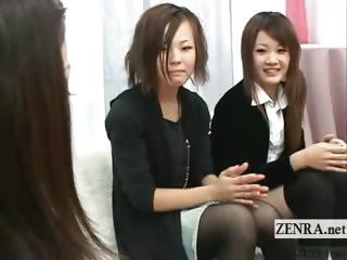 Subtitled CFNM unambiguous Japanese amateurs handjob conference