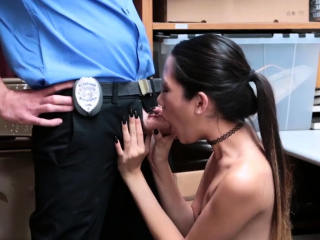 Blonde police threesome together with with panties caught Habitual