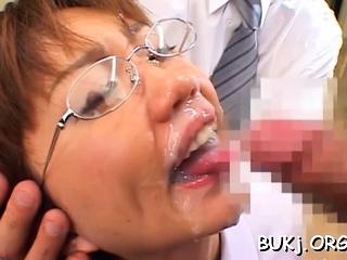 Resigned japanese hottie likes a spot on target bukkake play on cam