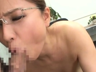 Sexy oriental chick goes for a broad dick in the office