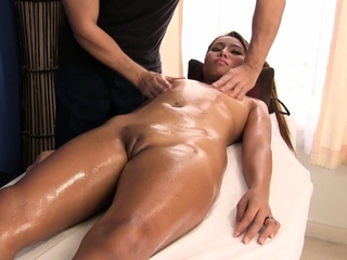 Cute Thai dabbler massaged and fucked in rub-down the cards explore