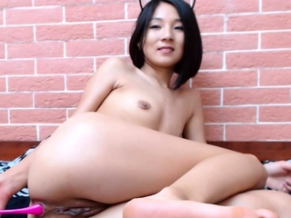 Booty incitement Asian Mikka teases with tiny butthole