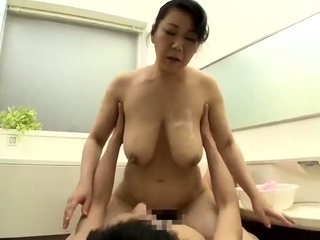 Busty Japanese girl with hairy cunt