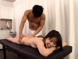 Asian bungler masturbates with a small