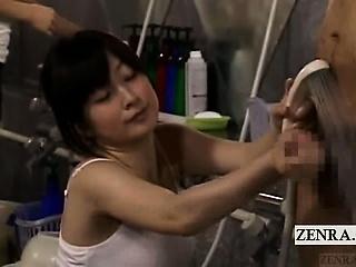 Subtitled CFNM Japanese bathe a exhaust casual handjob cumshot